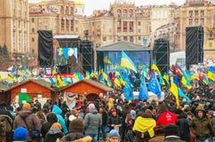 Anti-governmental protests in Kiev, Ukraine. KIEV, UKRAINE - DECEMBER 07: Anti-governmental protests on December 7, 2013 in Kiev, Ukraine. The protests were Royalty Free Stock Photos