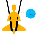 Anti-gravity yoga poses woman silhouette Stock Photo