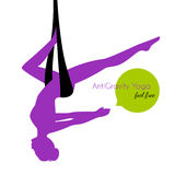 Anti-gravity yoga poses woman silhouette Royalty Free Stock Image