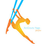 Anti-gravity yoga poses woman silhouette Royalty Free Stock Images