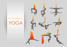 Anti-gravity yoga for women. Flying yoga logo templates set. Anti-gravity yoga Royalty Free Illustration