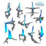 Anti-gravity yoga for women Stock Photos