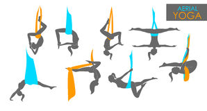 Anti-gravity yoga for women. Flying yoga logo templates set. Anti-gravity yoga Vector Illustration