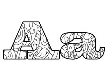 Anti het kleuren boekalfabet, de brievena vectorillustratie Stock Foto