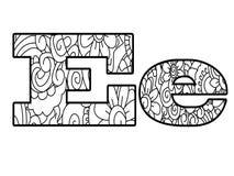 Anti het kleuren boekalfabet, de brievene vectorillustratie Stock Afbeelding