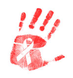 Anti HIV ribbon handprint illustration Royalty Free Stock Photo