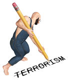 Anti illustration de Word de croisement de terrorisme Photographie stock libre de droits