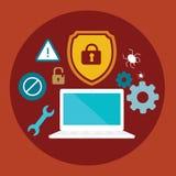 Anti-illustration för lägenhet för sköld för virussäkerhet dator låst Royaltyfria Bilder