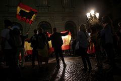 Anti Independence referendum supporters in barcelona Royalty Free Stock Photography