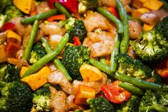 Anti-inflammatory pan with chicken and vegetables Royalty Free Stock Image