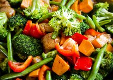 Anti-inflammatory pan with chicken and vegetables Royalty Free Stock Images