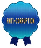 ANTI insigne bleu de ruban de CORRUPTION Image libre de droits