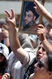 Anti-Israel protest i Beirut Royaltyfria Bilder