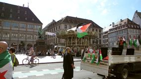 Anti Israel protest in Place Gutenberg, Strasbourg, France stock video footage