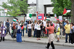 Anti-Israel rally in Ottawa. People gather to protest Israel after the recent attack of the Gaza flotilla, and Ottawa's stand regarding Israel.  Ottawa Royalty Free Stock Photo