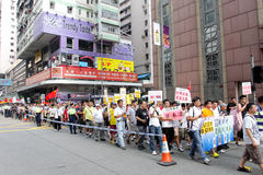 Anti Japan protester i Hong Kong Royaltyfri Bild