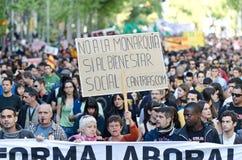Anti kapitalismedemonstratie op Meidag 2012, Staaf Royalty-vrije Stock Foto
