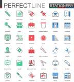 anti kontor annan brevpapper för saxsharpenerhäftapparat Modern plan linje designvektorsymboler stock illustrationer