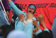 Anti--korruption demonstration i indonesia Fotografering för Bildbyråer