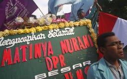 Anti--korruption demonstration i indonesia Royaltyfri Foto