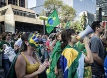 Anti--korruption protest Brasilien Royaltyfria Bilder