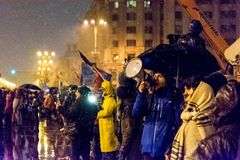 Anti--korruption protest i Bucharest arkivbild