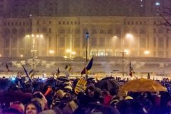 Anti--korruption protest i Bucharest royaltyfria foton