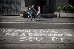 Anti--korruption protest i Sao Paulo, Brasilien Arkivfoto