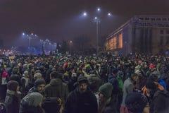 Anti-korruption protesterar i Bucharest på Januari 22, 2017 Arkivfoto