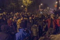 Anti-korruption protesterar i Bucharest på Januari 22, 2017 Fotografering för Bildbyråer