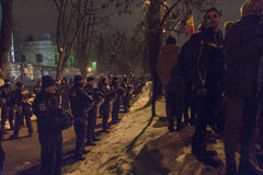 Anti-korruption protesterar i Bucharest på Januari 22, 2017 Arkivbilder