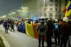Anti-korruptionprotest, Bucharest, Rumänien Arkivfoton