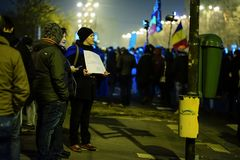 Anti-korruptionprotest, Bucharest, Rumänien Royaltyfria Bilder