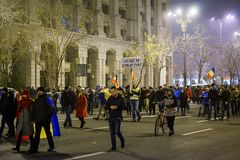 Anti-korruptionprotest, Bucharest, Rumänien Royaltyfri Foto