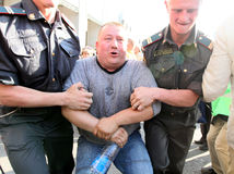 Anti-Kremlin protests in Moscow. Police officers detain people during a banned anti-Kremlin protest in Moscow, russian police broke up unauthorized anti-Kremlin Stock Photo