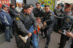 Anti-Kremlin rally in Moscow Stock Photos