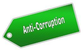 ANTI label vert rayé de CORRUPTION Photo stock