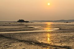 The beach in Kinmen, Taiwan. Anti-landing iron on the beach in Kinmen Kinmen National Park, Taiwan royalty free stock image
