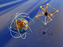 Anti Matter and Iron atom. 3D illustration, background, wallpaper of the micro cosmos, a molecule, iron atom, anti matter.   Quantum physics concept Stock Photos