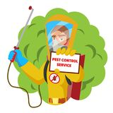 Anti Microbes Sanitation Vector Concept. Worker Spraying Pesticide. Chemical Protective Suit Termites. Disinfection. Pest Control Service Vector. Sanitation Stock Photos