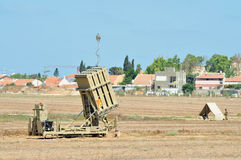 Anti-Missile System - Iron Dome. ISRAEL, Ashkelon - OCTOBER 30 2011: Anti-missile system intercepts one rocket aimed at Beersheba while Ashdod, Ashkelon remain Royalty Free Stock Images
