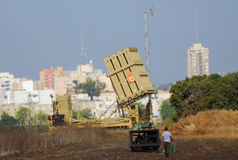 Anti-Missile System - Iron Dome. ISRAEL, Ashkelon - OCTOBER 30 2011: Anti-missile system intercepts one rocket aimed at Beersheba while Ashdod, Ashkelon remain Royalty Free Stock Image