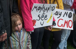 Anti--Monsantoprotest Arkivfoto