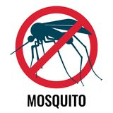 Anti-mosquito label depicting fly in circle vector illustration. Anti-mosquito label depicting fly with wings and sting in red circle with diagonal line, vector Stock Photo