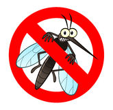 Anti mosquito sign. With a funny cartoon mosquito Stock Photography