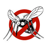 Anti mosquito sign. With a funny cartoon mosquito royalty free illustration
