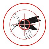 Anti mosquito sign with a funny cartoon mosquito.. Anti mosquito sign with a funny cartoon mosquito Royalty Free Stock Photo