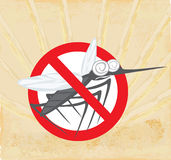 Anti mosquito sign with a funny cartoon mosquito. Stock Photo