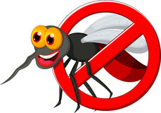 Anti mosquito sign with a funny cartoon mosquito. Royalty Free Stock Photography