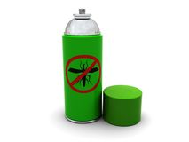 Anti-mosquito spray. 3d illustration of anti-mosquito spray with cap, over white background Stock Photo